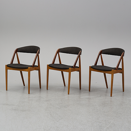 A set of three 1950's-60's chairs by kai kristensen, denmark.