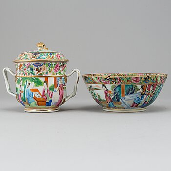 A famille rose jar with cover and a bowl, Qing dynasty, Canton, late 19th century.