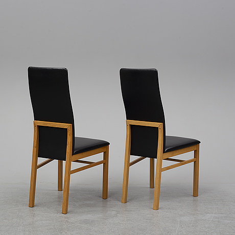 A dining table and 6 chairs, chairs by sören nissen & ebbe gehl for naver collection.