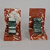 A pair of marble bookends, 20th century.
