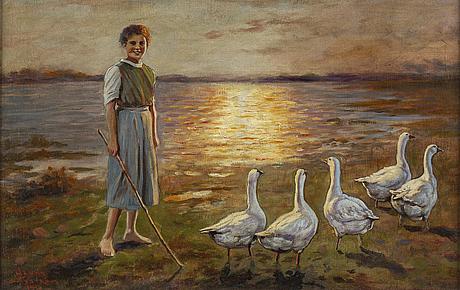 Jenny nystrÖm, oil on canvas/paper-panel, signed jenny nyström and dated 1919.