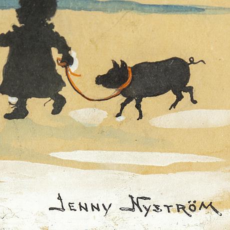 Jenny nystrÖm, akvarell/tusch, signerad.