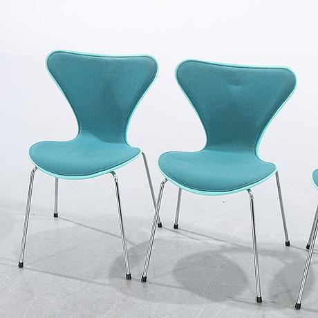 "Arne jacobsen, four ""sjuan"" chairs, fritz hansen, denmark, 1992."