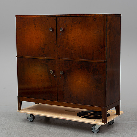 A stained birch veneered cabinet, 1930's/40's.