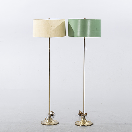 Two floor lamps, modell g24, alf svensson and yngvar sandström for bergboms.