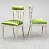A set of four late gustavian chairs, early 19th century.