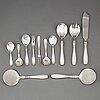 12 silver art déco serving cutlery, denmark 1930-40s.