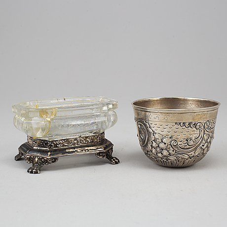 2 silver salts, a sarf, a tumbler and an inkwell,  19th century.