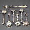 7 silver ladels/spoons, 19th century.