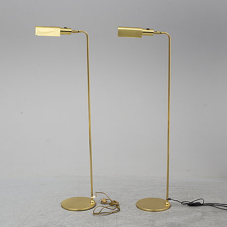 A pair of brass floor lamps, 2000's.