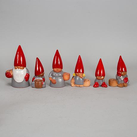 Lisa larson, 6 stoneware figurines, gustavsberg.