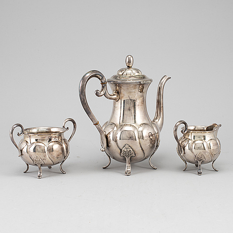 A norwegian three-piece coffee service, mid 20th century.