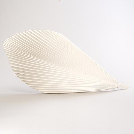 "Inkeri leivo, a ceramic dish, ""gardena"" leaf platter, pro arabia art, finland. design 2002."