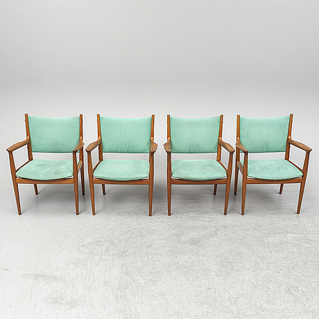 A set of 4 'jh 513' chairs by hans j wegner for johannes hansen denmark.