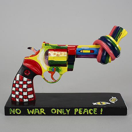 Carl fredrik reuterswÄrd, skulptur, non-violence project foundation, numrerad 242/499 samt märket med etikett, 2012.
