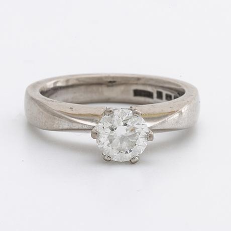 Diamond ring 18k whitegold 1 brilliant-cut diamond 0,80 ct g vvs2, gia certificate 2016.