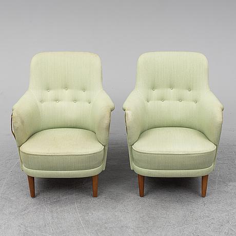 A pair of 'samsas' easy chairs by carl malmsten, ab o.h. sjögren, tranås.