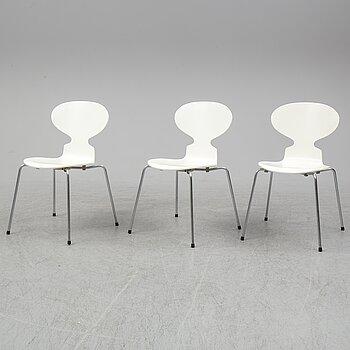 ARNE JACOBSEN, three 'Ant' chairs from Fritz Hansen, Denmark.