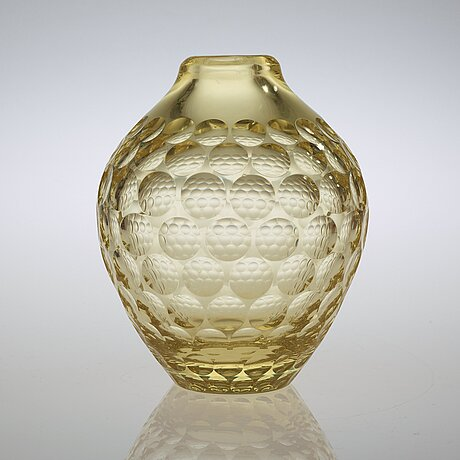 Vicke lindstrand, a yellow cut glass vase, kosta, sweden 1950-60's.