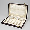 A set of six silver caviar spoon, austria / hungary, ca 1900. box included.