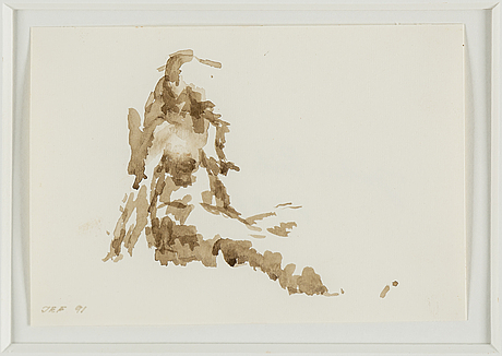 John-e franzÉn, ink wash on paper, signed and dated 1991.