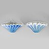 A pair of glass wall lights, la murrina, murano, italy.