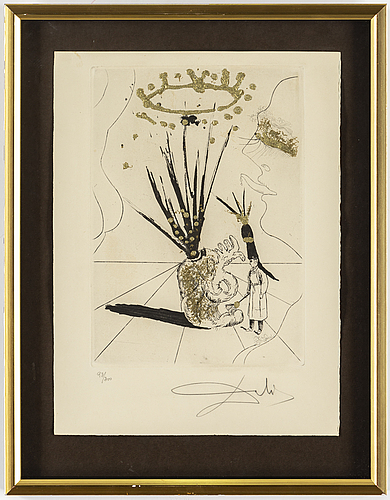 Salvador dalÍ, drypointetching with gold paint, signed and numbered 93/300.