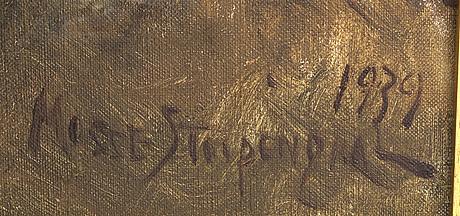 Mosse stoopendahl, olja på duk, signerad och daterad 1939.