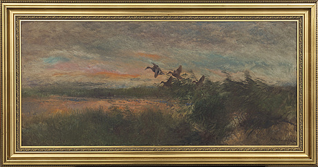 Mosse stoopendahl, oil on canvas, signed and dated 1939.