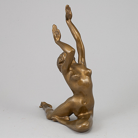 Charles friberg, sculpture, depicting posing woman, bronze, dated 1926.