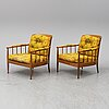 """Kerstin hÖrlin-holmquist, a pair of easy chairs """"skrindan""""."""
