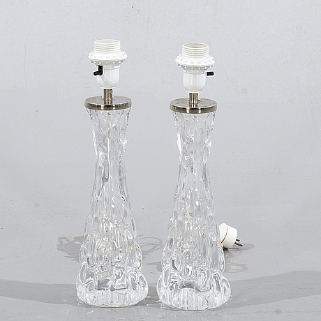 Carl fagerlund, a pair of table lights, model 1477, orrefors.