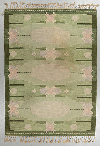 """Ingegerd silow, matto, """"ulvåsa green"""", flat weave, ca 233,5 x 166-167 cm, signed is."""