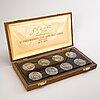 "Harold salomon, medaljer, 8 st, sterling silver, h. c. andersen, ""eventyrserien"". originaletui."