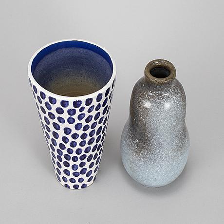 Vicke lindstrand, 2 ceramic vases, upsala-ekeby.