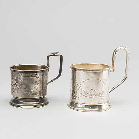 A set of two russian silver teacup-holders weight ca 206 gr.