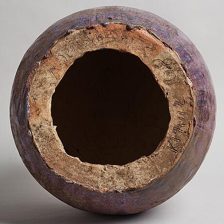"""Ulla & gustav kraitz, a stoneware """"sphere"""" sculpture, förslöv 1983."""