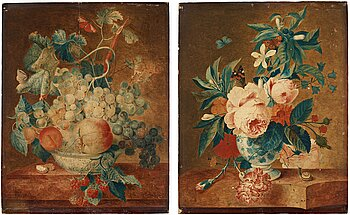 511. Francina Margaretha van Huysum Circle of, Still life with flowers, fruits and insects (2).