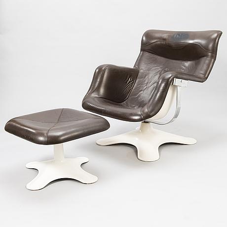 YrjÖ kukkapuro, a 1970's 'carousel' armchair and stool for haimi finland.