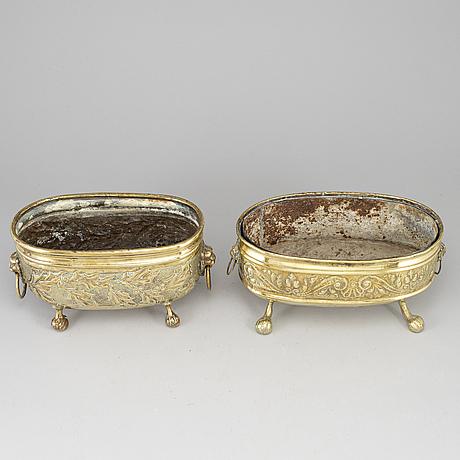 Two 19th century brass jardinieres.