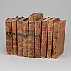 Nine leatherbound 18th century books.