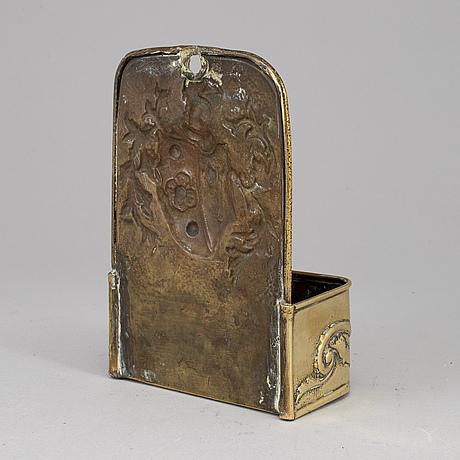 A 19th century brass wall box.