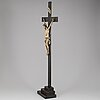 A painted wood crucifix, 18th/19th century.