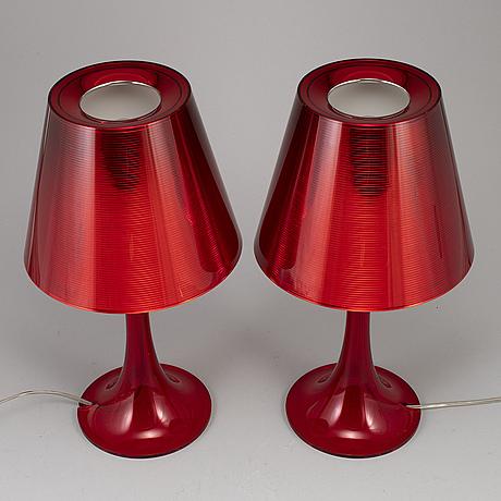 Philippe starck, a pair of 'miss kä table lights, flos, italy.