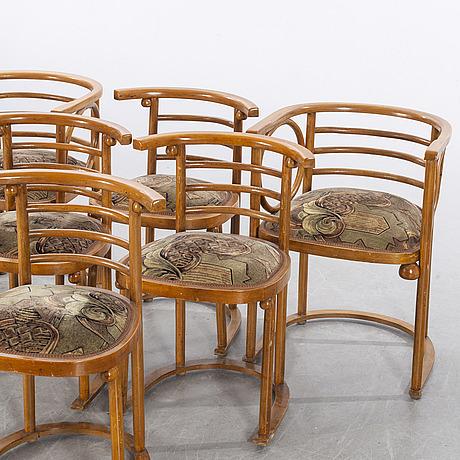 Karmstolar & stolar, thonet-stil, 4+2, 1900-talets första hälft.