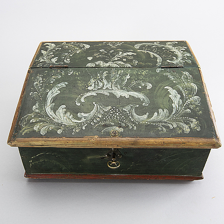 A swedish later part of the 18th century painted writing casket.