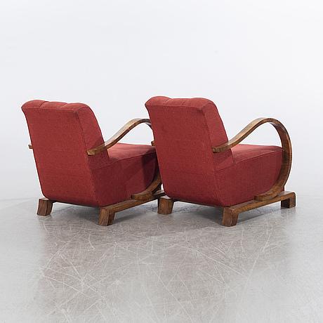 FÅtÖljer, 1 par, art déco-stil, 1900-talets mitt.
