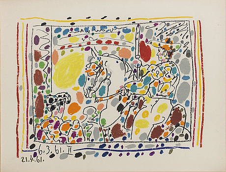 """Pablo picasso, litographe with color, """"le picador ii"""", dated in print."""