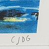 Carl johan de geer, lithograph in colours, signed cjdg and numbered 167/295 in pencil.