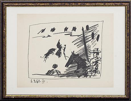 "Pablo picasso, litographe with color, ""jeu de la cape"", dated in print."